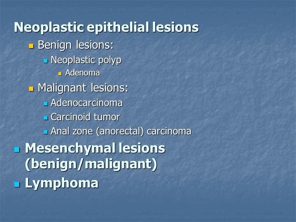 Neoplastic epithelial lesions