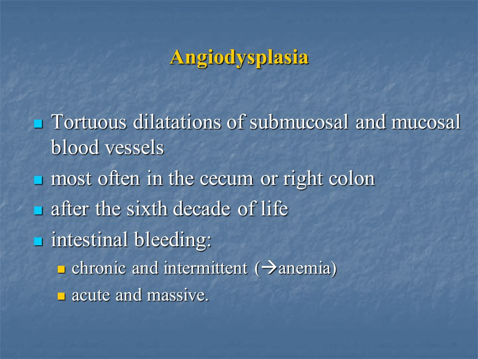 Tortuous dilatations of submucosal and mucosal blood vessels