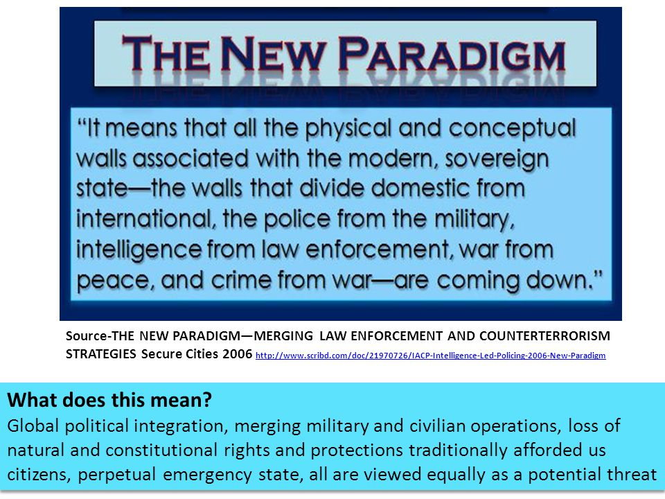 Source-THE NEW PARADIGM—MERGING LAW ENFORCEMENT AND COUNTERTERRORISM STRATEGIES Secure Cities 2006 http://www.scribd.com/doc/21970726/IACP-Intelligence-Led-Policing-2006-New-Paradigm
