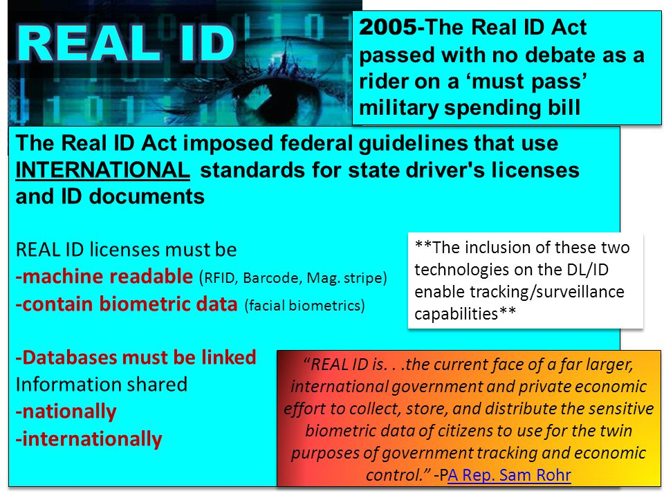 REAL ID -machine readable (RFID, Barcode, Mag. stripe)