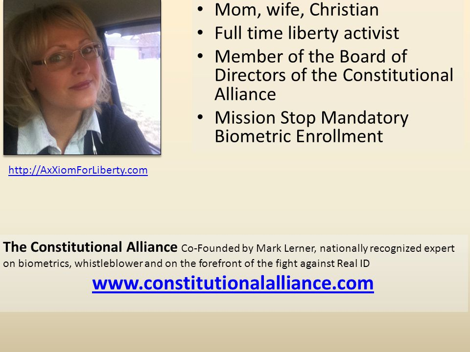 www.constitutionalalliance.com Mom, wife, Christian