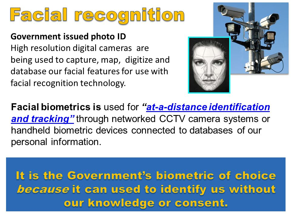Facial recognition Government issued photo ID.