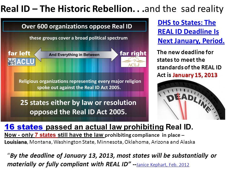 Real ID – The Historic Rebellion. . .and the sad reality