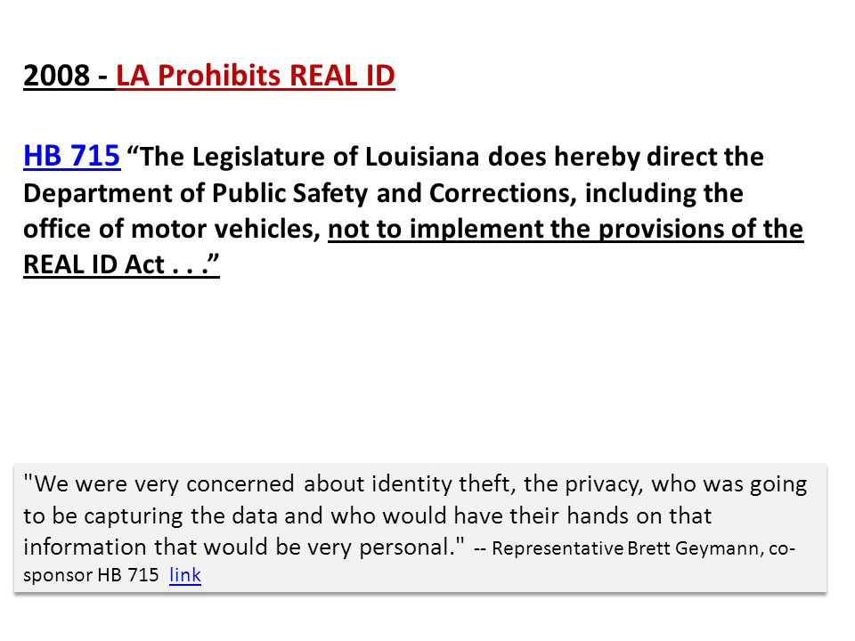 2008 - LA Prohibits REAL ID
