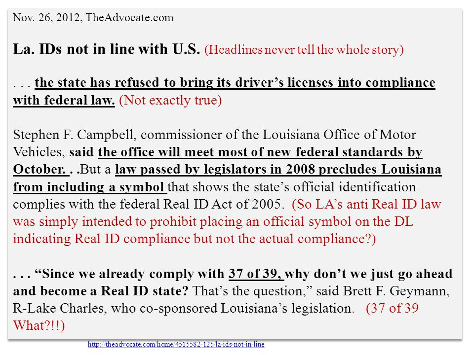 La. IDs not in line with U.S. (Headlines never tell the whole story)