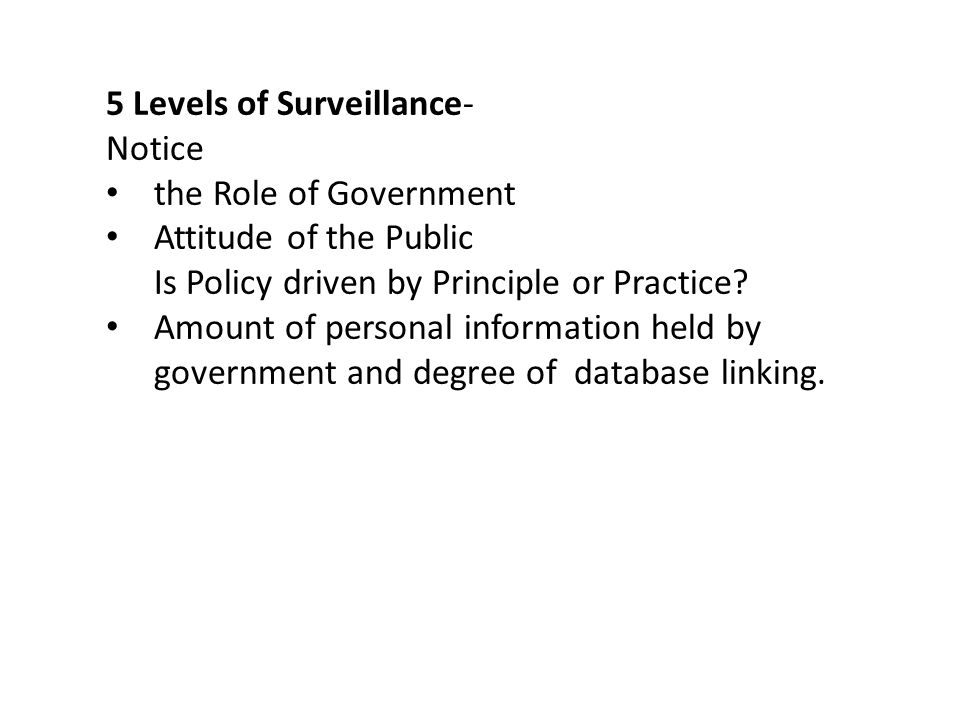 5 Levels of Surveillance-