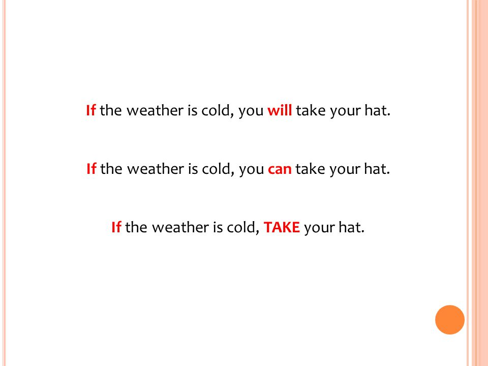 If the weather is cold, you will take your hat.