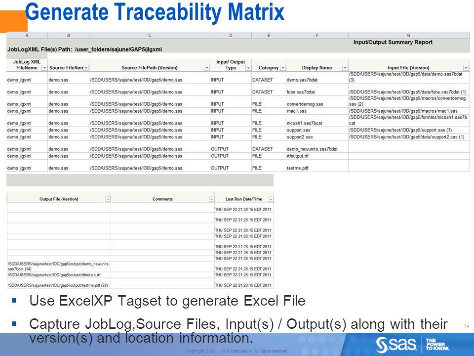 Generate Traceability Matrix