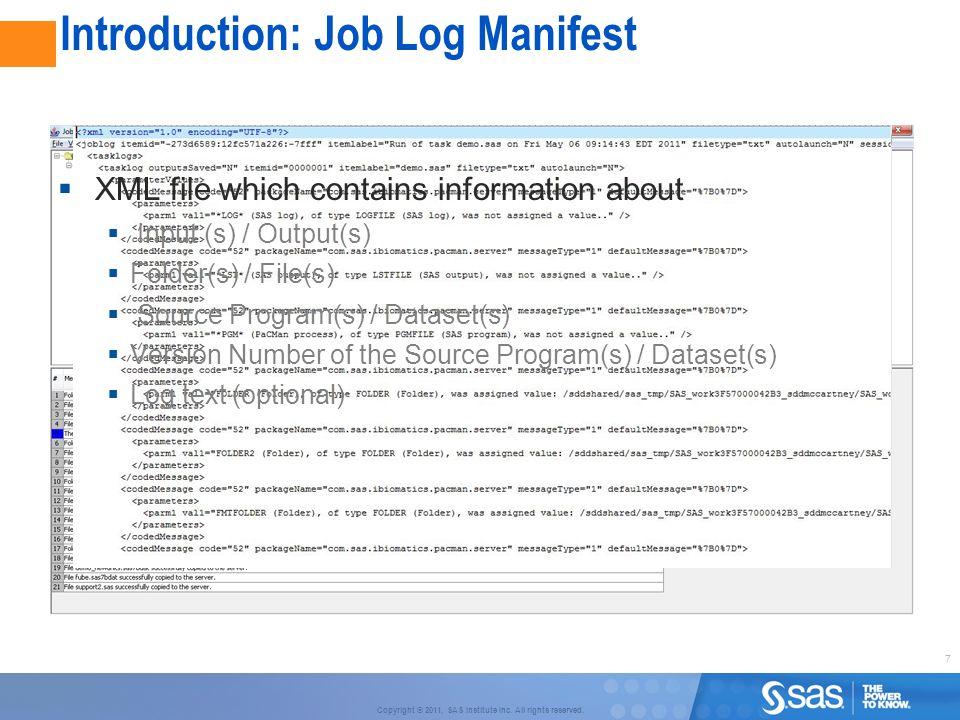 Introduction: Job Log Manifest
