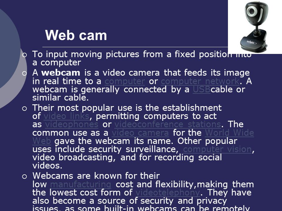 Web cam To input moving pictures from a fixed position into a computer
