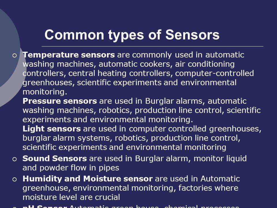 Common types of Sensors