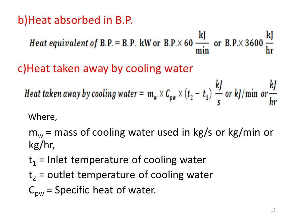 c)Heat taken away by cooling water