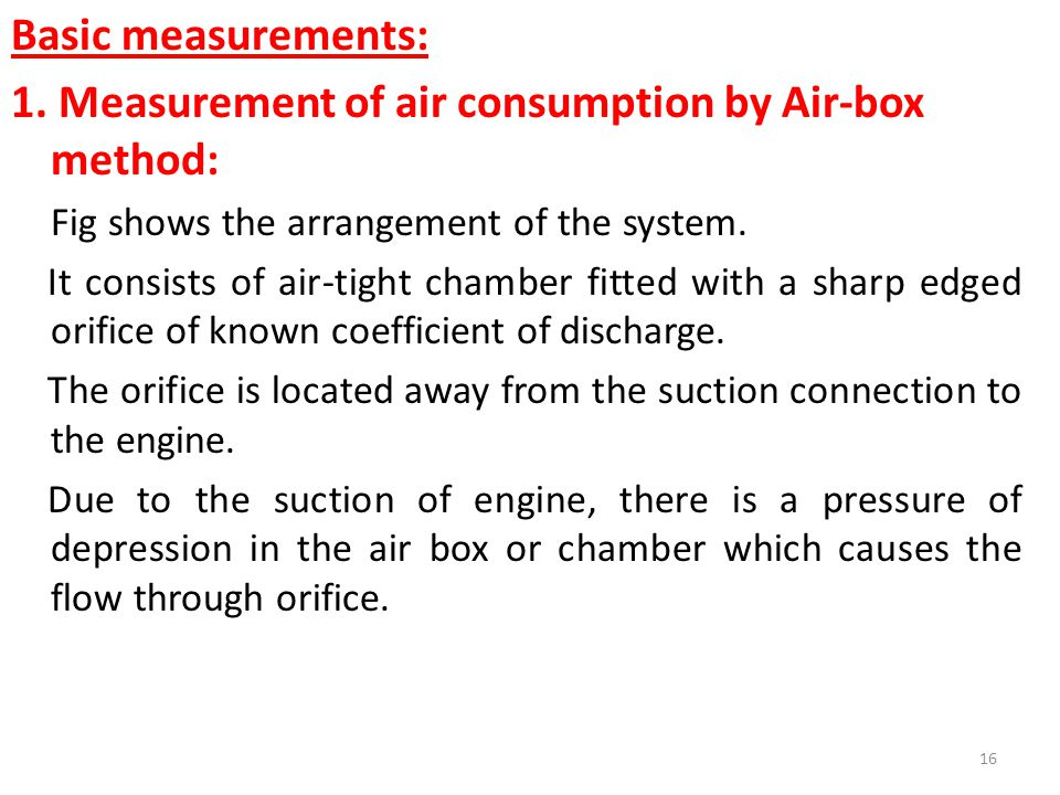 1. Measurement of air consumption by Air-box method: