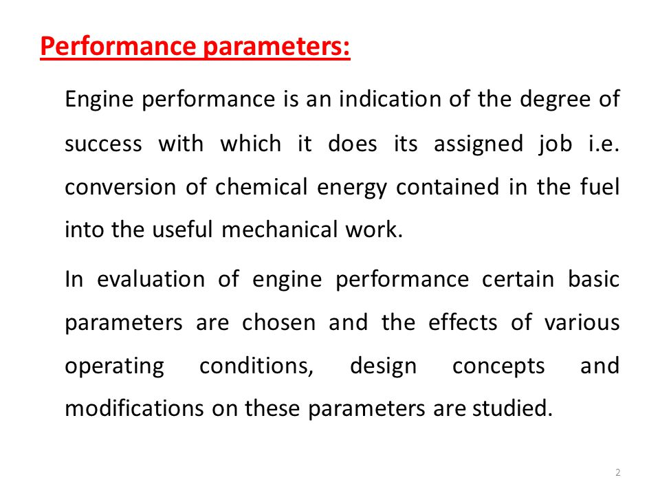 Performance parameters: