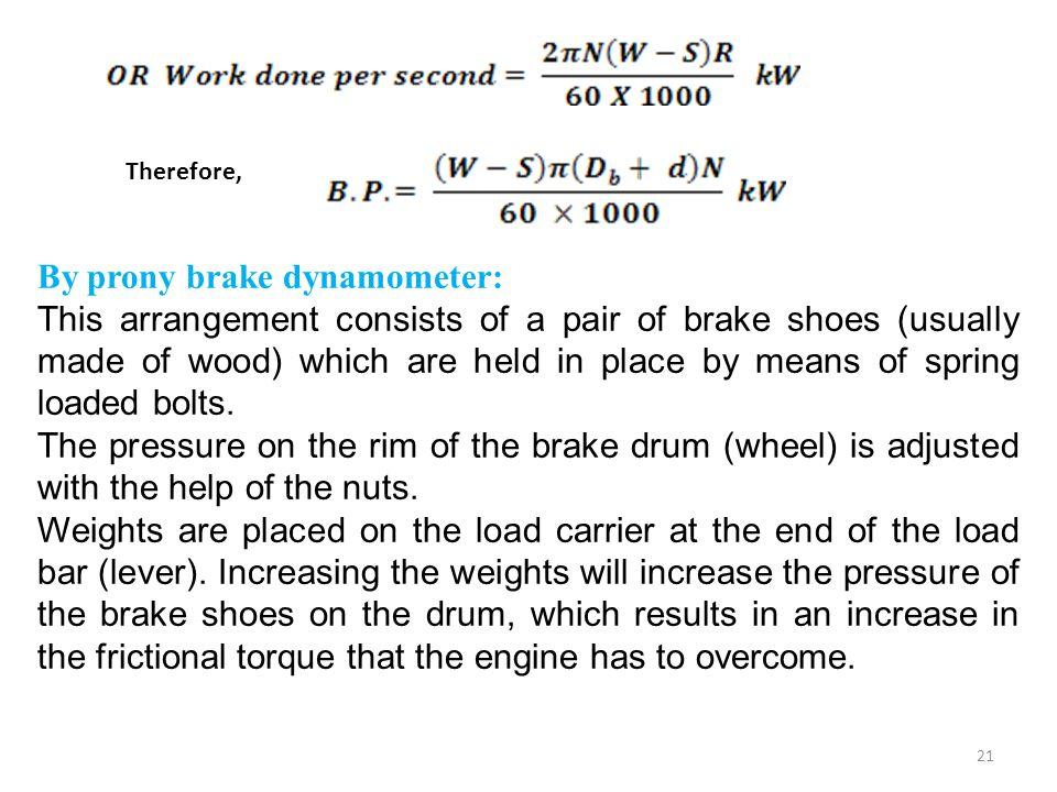 By prony brake dynamometer: