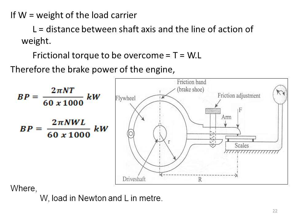 If W = weight of the load carrier L = distance between shaft axis and the line of action of weight. Frictional torque to be overcome = T = W.L Therefore the brake power of the engine,