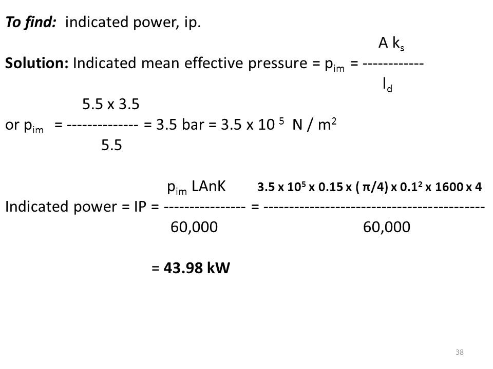 To find: indicated power, ip