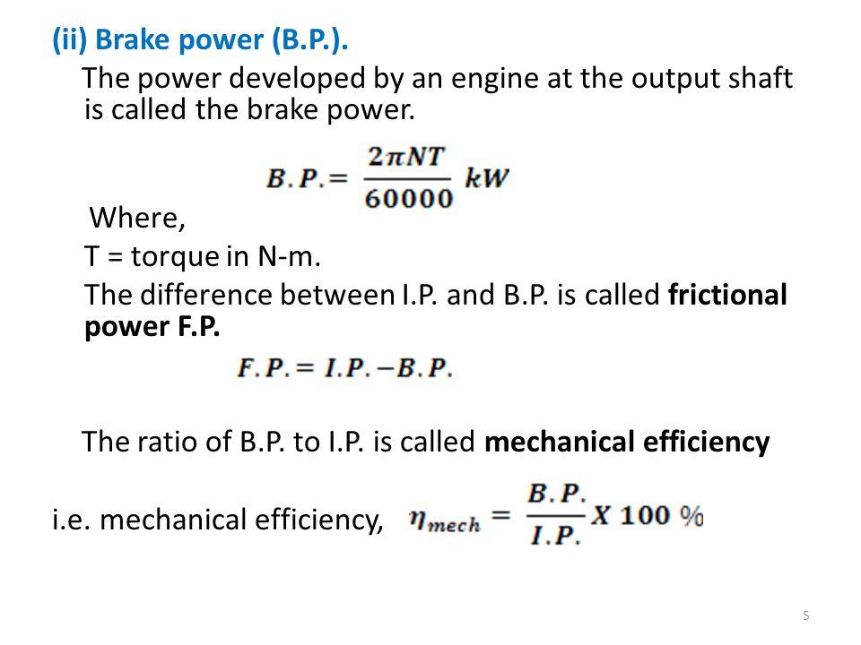 (ii) Brake power (B.P.).