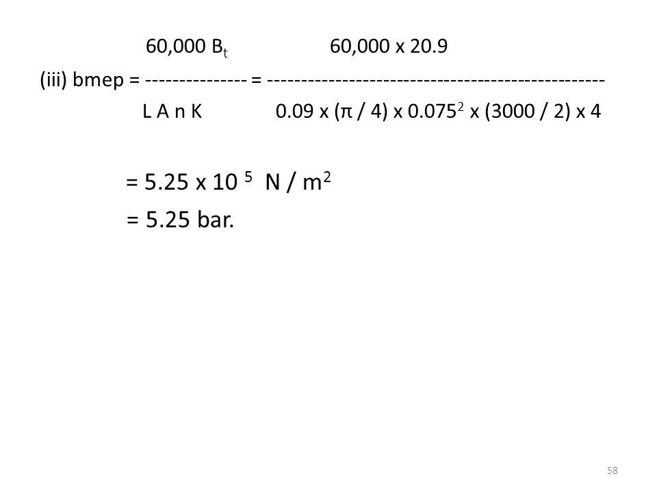 60,000 Bt 60,000 x 20.9 (iii) bmep = --------------- = --------------------------------------------------