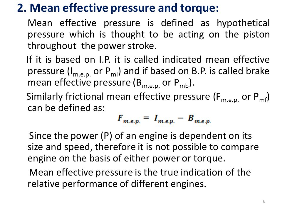 2. Mean effective pressure and torque: