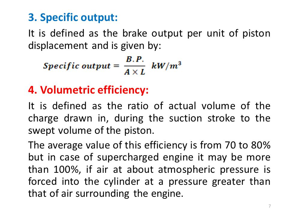 4. Volumetric efficiency: