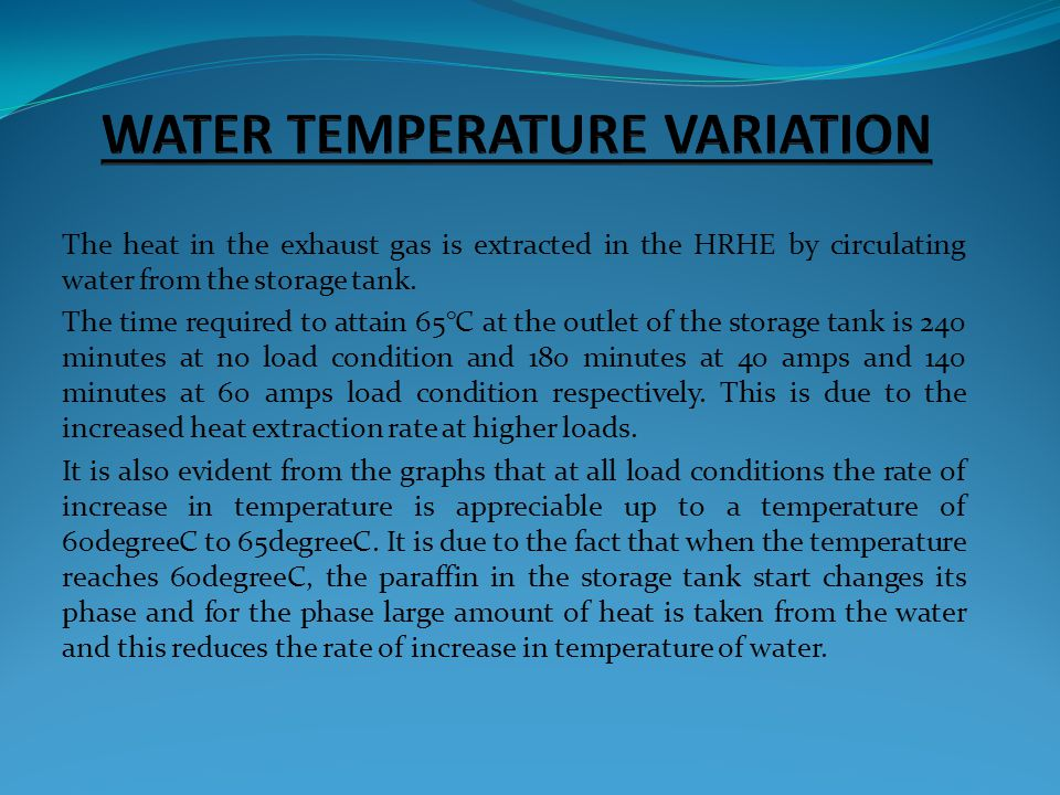 WATER TEMPERATURE VARIATION