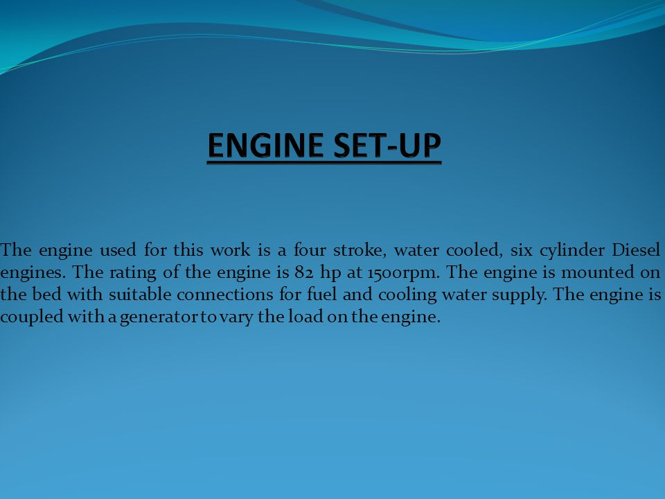 ENGINE SET-UP