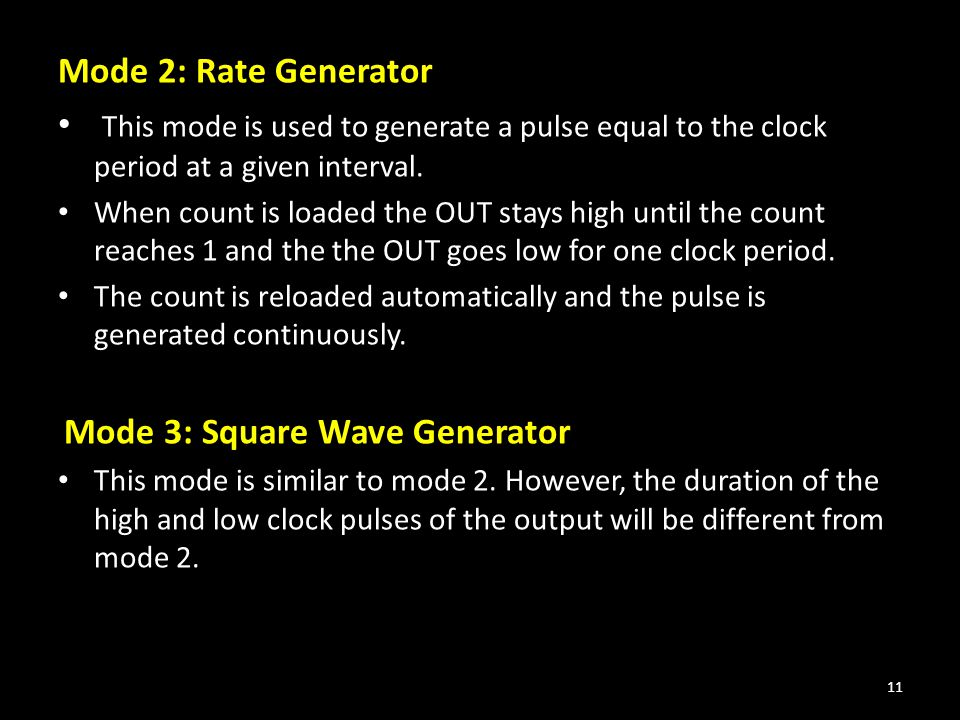 Mode 2: Rate Generator This mode is used to generate a pulse equal to the clock period at a given interval.