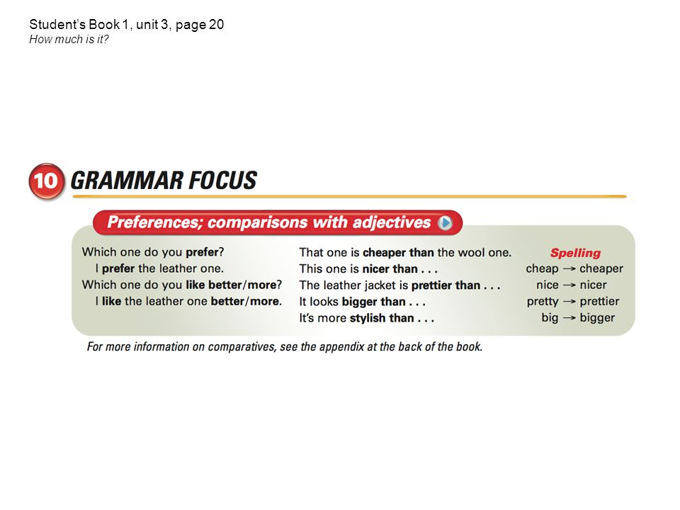 Student's Book 1, unit 3, page 20