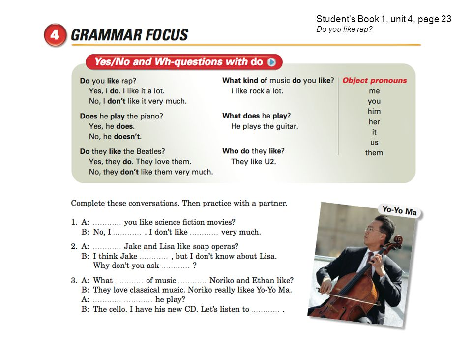 Student's Book 1, unit 4, page 23