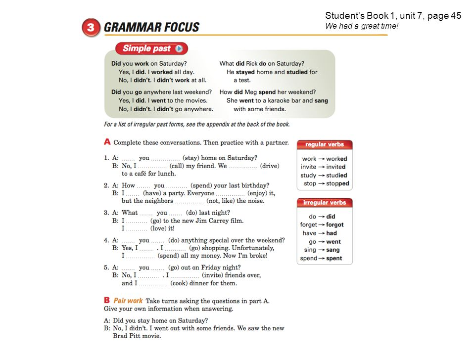 Student's Book 1, unit 7, page 45