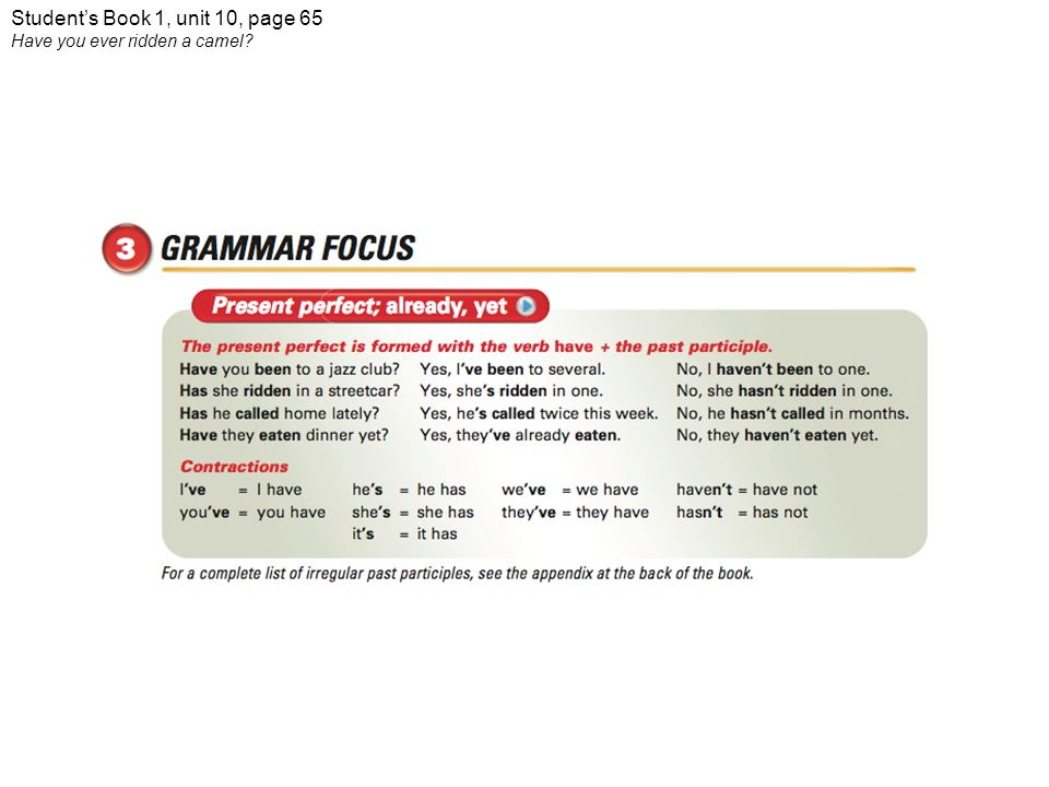 Student's Book 1, unit 10, page 65