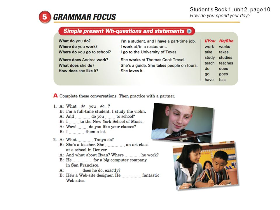 Student's Book 1, unit 2, page 10