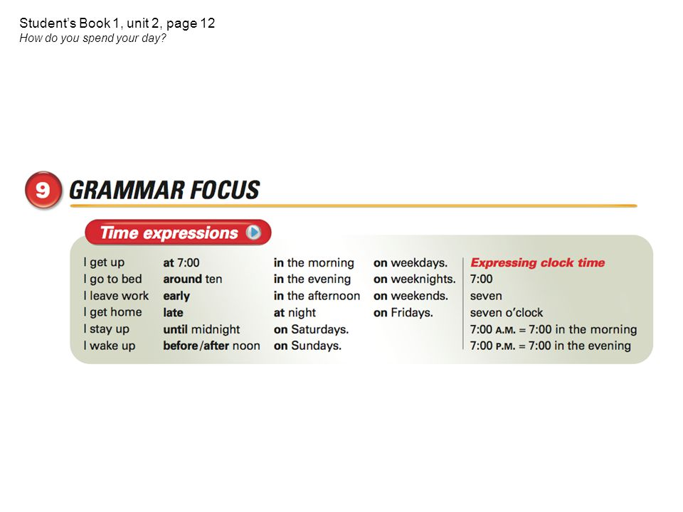 Student's Book 1, unit 2, page 12