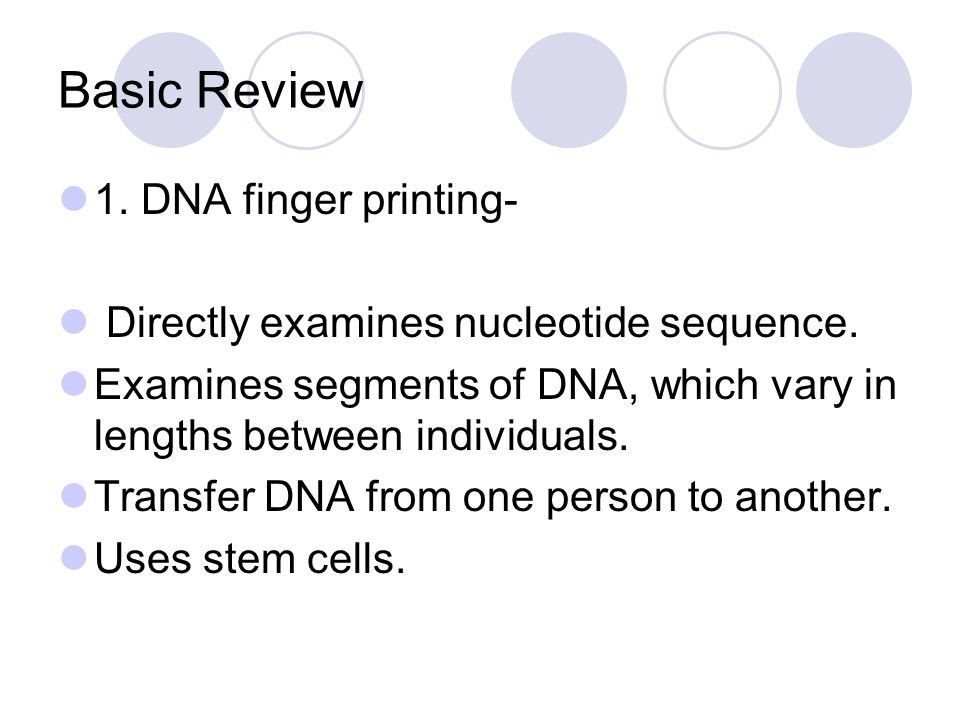 Basic Review 1. DNA finger printing-