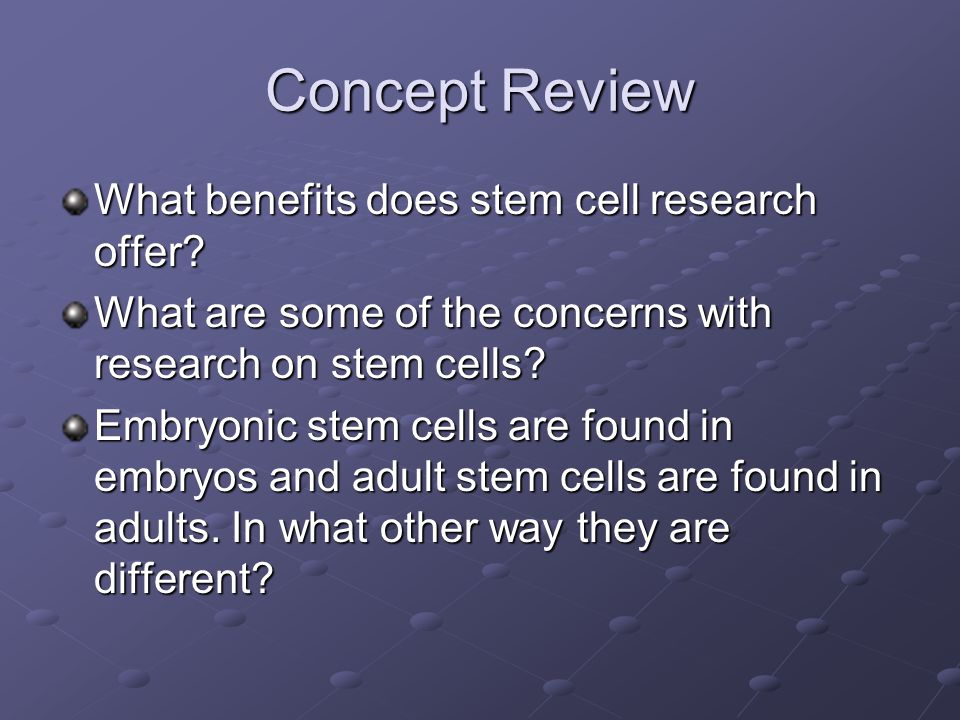 Concept Review What benefits does stem cell research offer