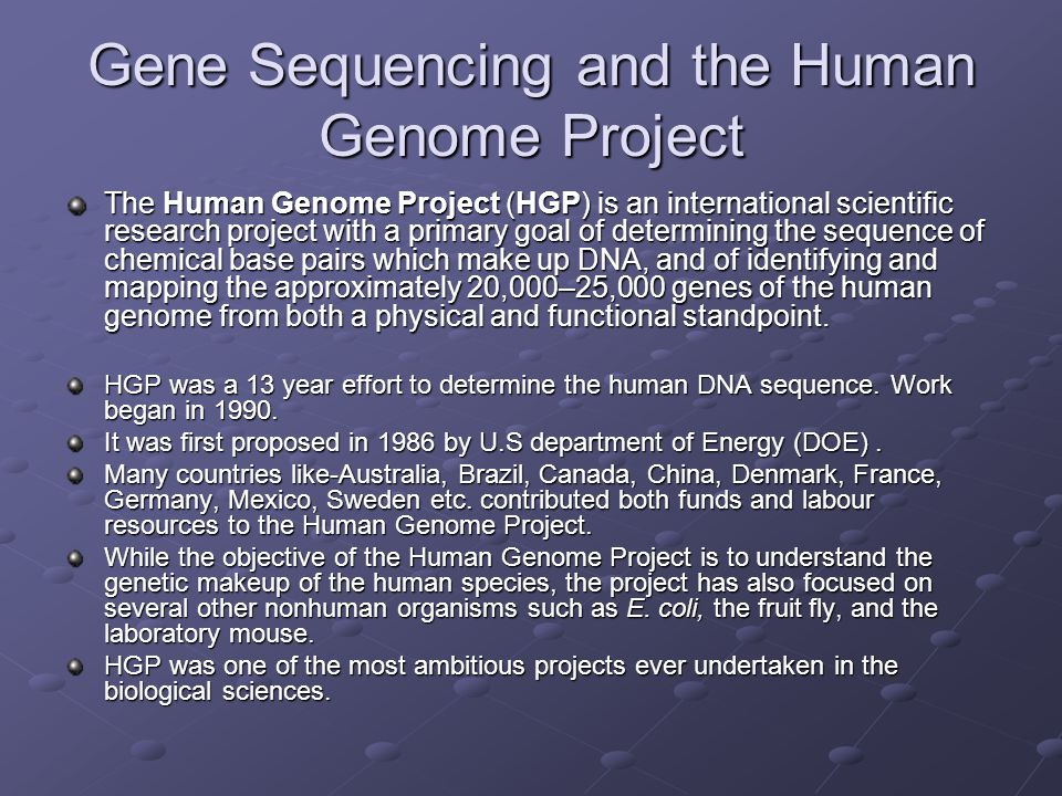 Gene Sequencing and the Human Genome Project