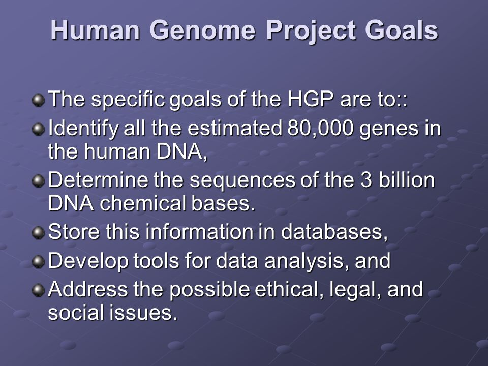 Human Genome Project Goals
