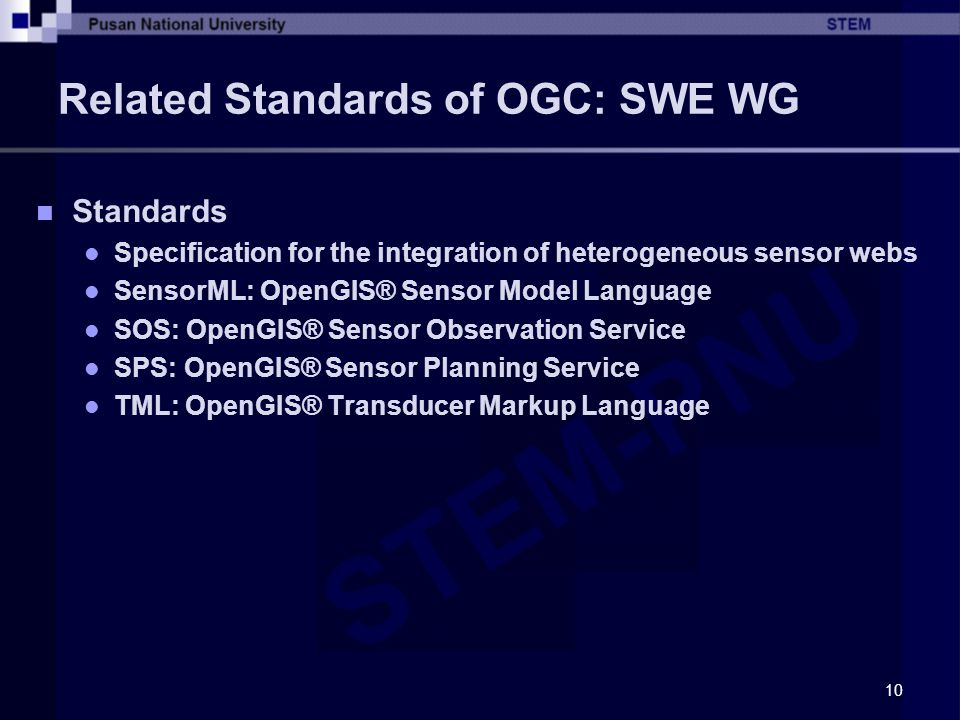 Related Standards of OGC: SWE WG