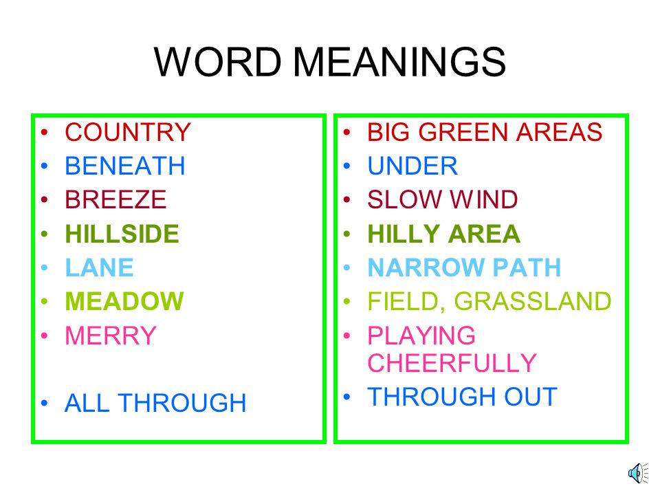 WORD MEANINGS COUNTRY BENEATH BREEZE HILLSIDE LANE MEADOW MERRY