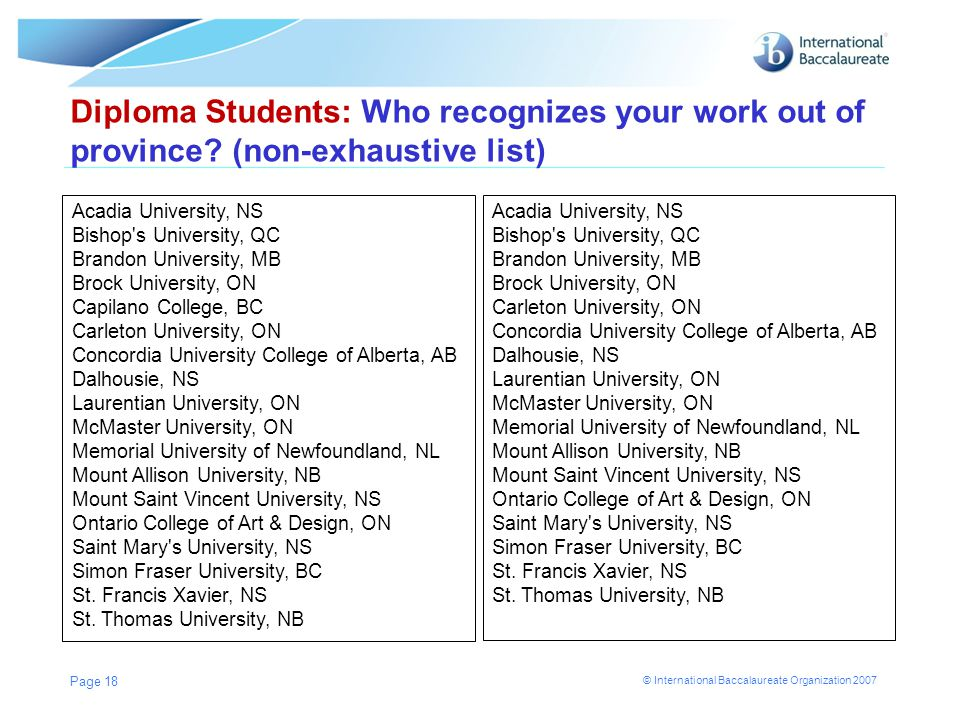 Diploma Students: Who recognizes your work out of province