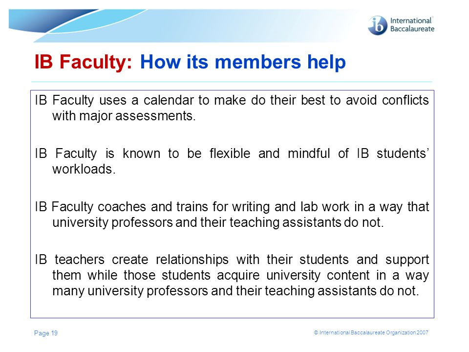 IB Faculty: How its members help