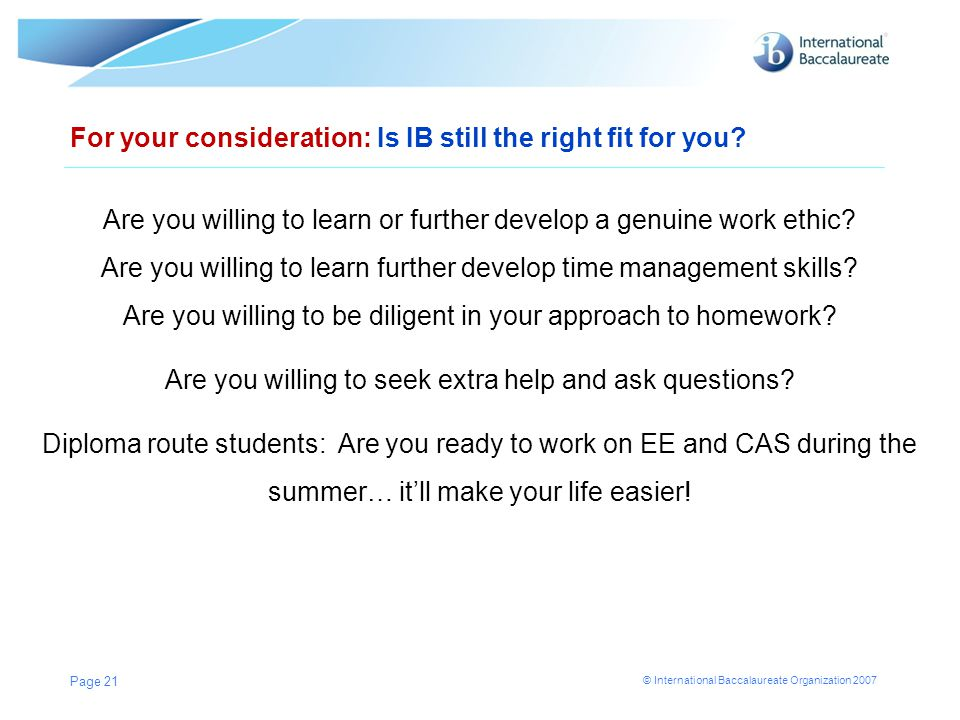 For your consideration: Is IB still the right fit for you