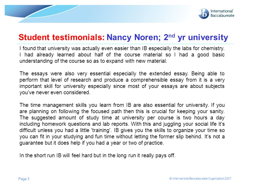 Student testimonials: Nancy Noren; 2nd yr university