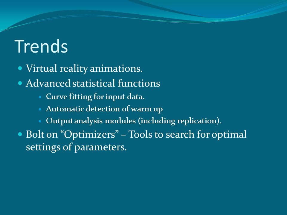 Trends Virtual reality animations. Advanced statistical functions