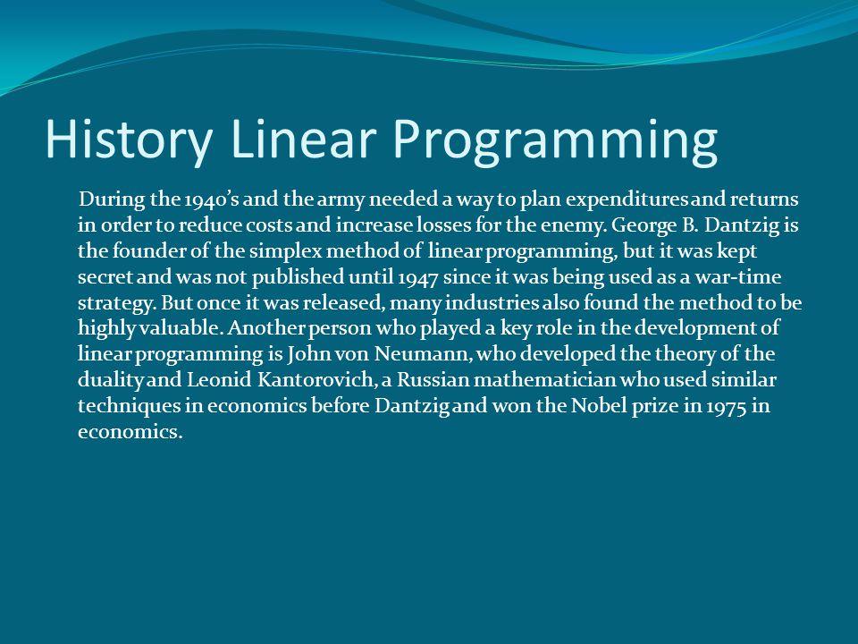 History Linear Programming