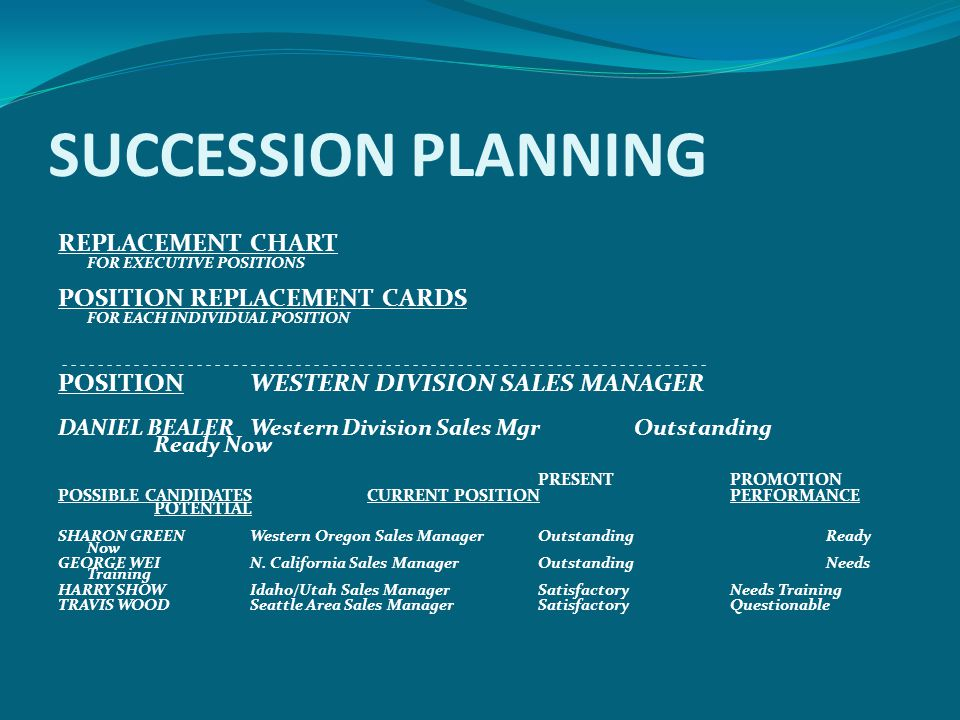 SUCCESSION PLANNING REPLACEMENT CHART POSITION REPLACEMENT CARDS
