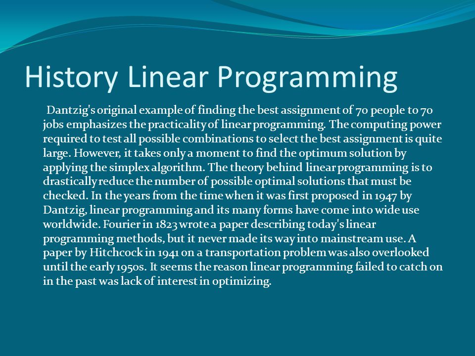 term paper on linear programming applications The below mentioned article provides an overview on the application of linear programming to the theory of firm the neo-classical theory of the firm analyses the problem of decision-making with one or two variables at a time.