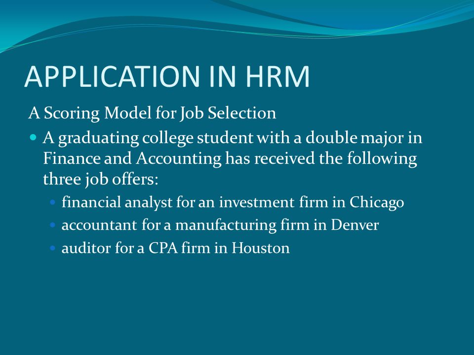 APPLICATION IN HRM A Scoring Model for Job Selection