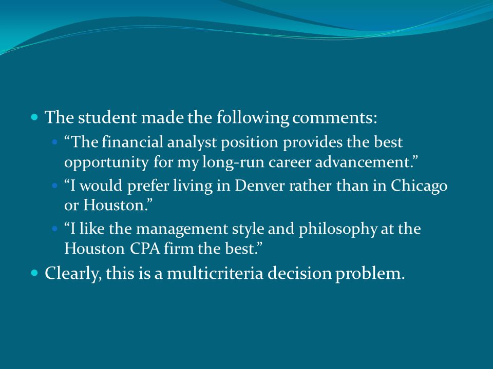 The student made the following comments: